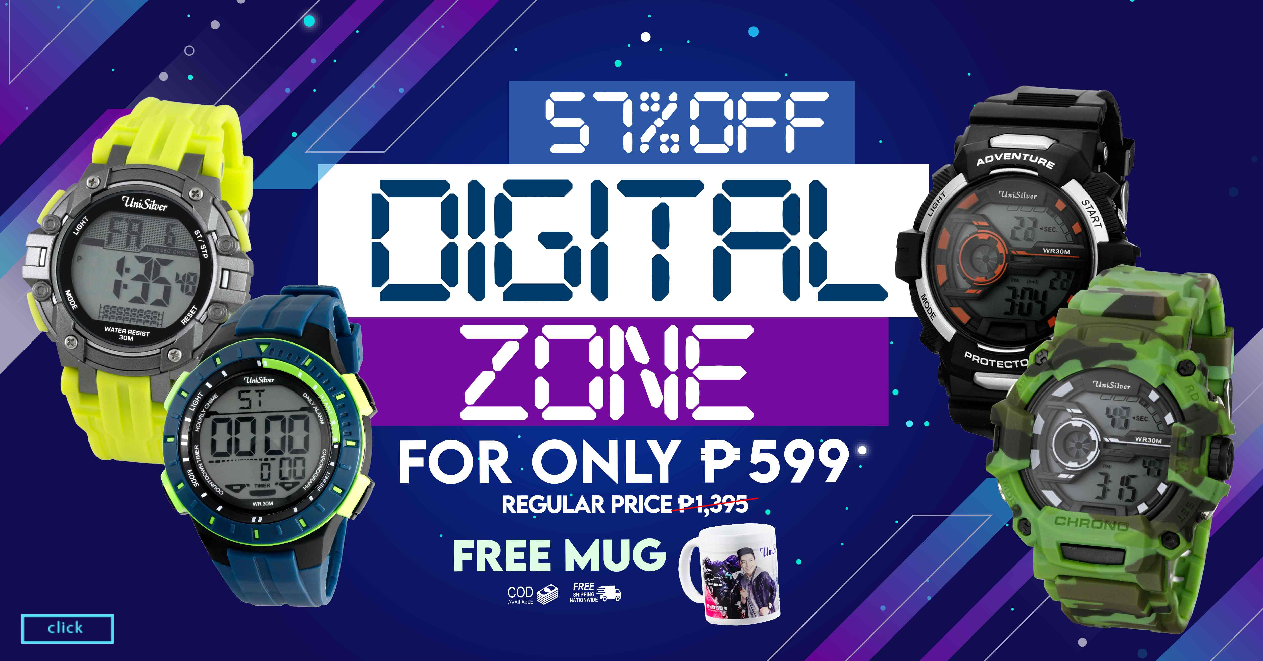 Timepieces make great fashion statement especially with the DIGITAL ZONE Sale  from UniSilver TIME!  1 watch for PHP599 only!  That's 57% off from the average regular price of PHP1,395!  Plus you'll also get a FREE mug.  Promo available only online http://www.unisilvertime.com/ Free shipping nationwide and COD option is available. Order now here >>> https://bit.ly/2zZMxUo