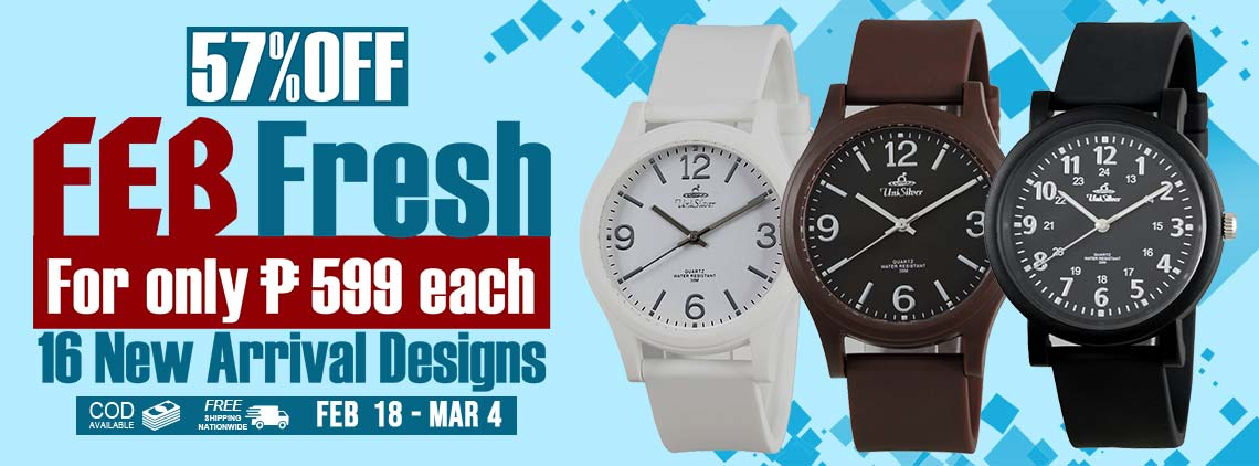They're served hot and ready for you to wear! Check out the Feb Fresh promo from UniSilver TIME! Take home any of these 16 new arrival watches for only P599 each! That's 57% off from their regular price of P1,395. This promo is only available at www.unisilvertime.com from February 18 to March 4, 2020. Free delivery and COD option is available. Order now!