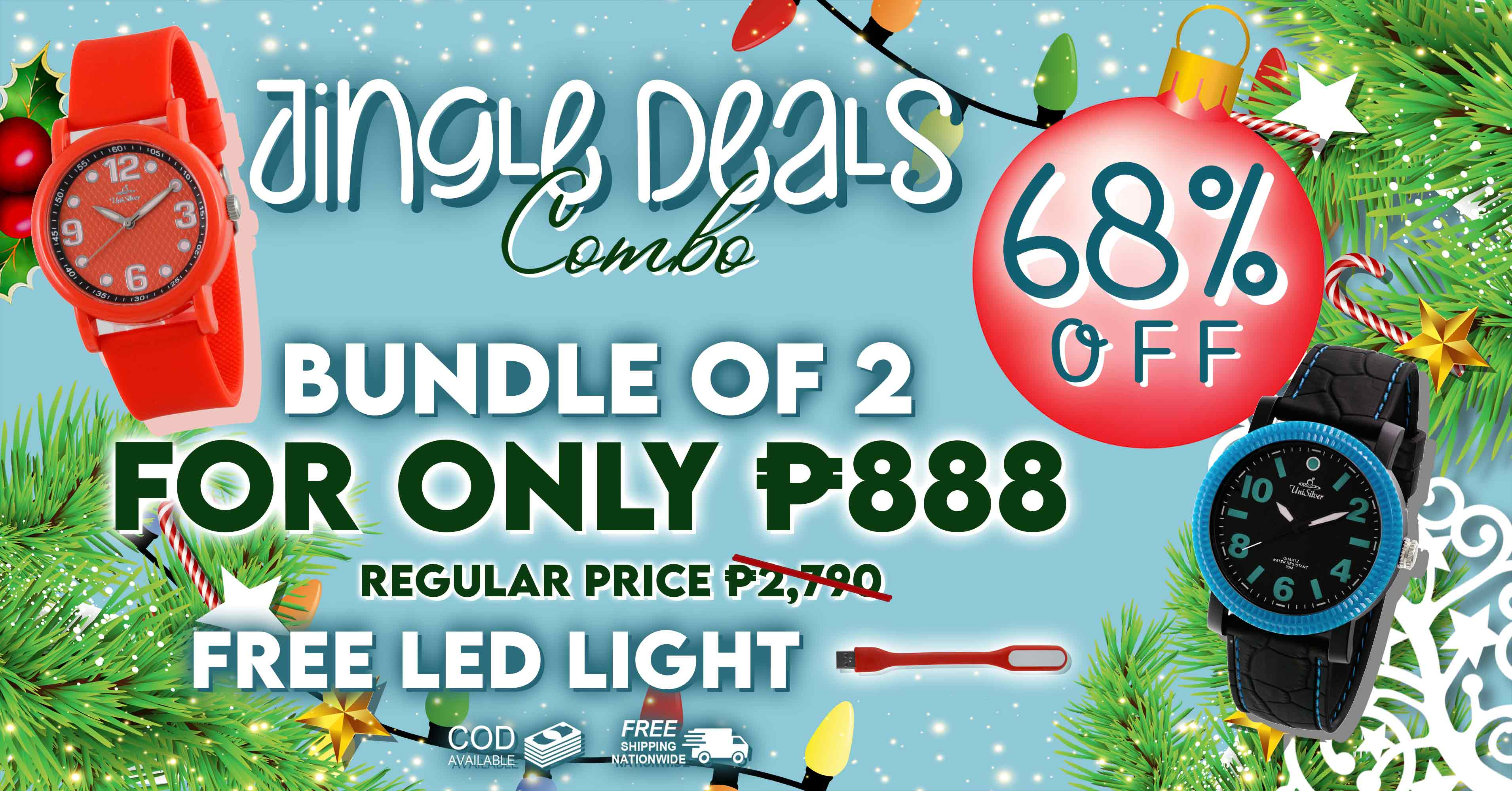 Oh, what fun it is this Christmas Season: Jingle Deals all the way with UniSilver TIME online.  Just pick any 2 watches for P888 only! That's 68% off the regular price of P2790  There are 19 designs to choose from!  Free USB LED  LIGHT.  Free shipping and cash on delivery option is available.  This promo is only available online  http://www.unisilvertime.com/ Hurry order now! >>> https://bit.ly/2M0UjQT