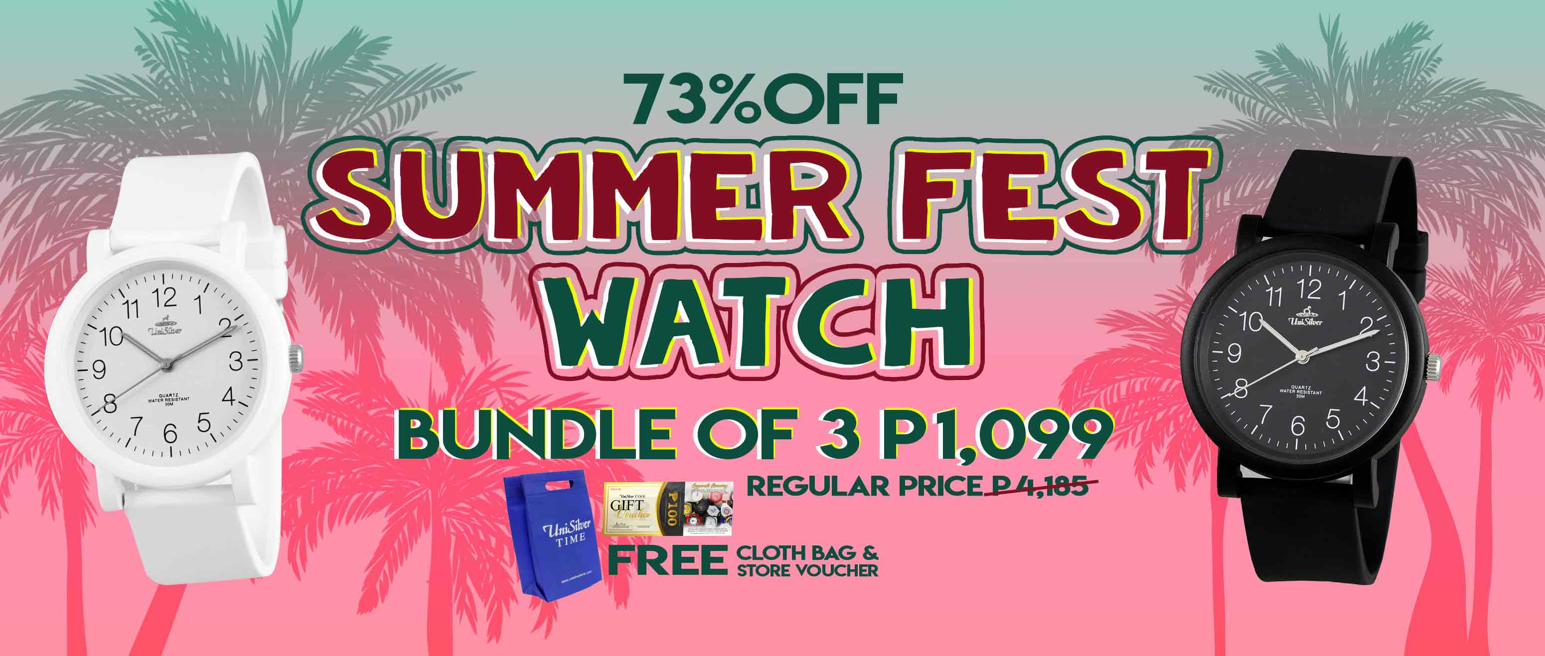 Take advantage of UniSilver TIME's SUMMER FEST WATCH: pick any 3 watches for PHP1,099 only! That's 73% off from the regular price!  Plus you'll also get FREE cloth bag and store voucher.  These fun watches are perfect for your summer outfits.  Promo available only online http://www.unisilvertime.com/    Free shipping nationwide and COD option is available. Shop now >>> https://bit.ly/3hckVNc
