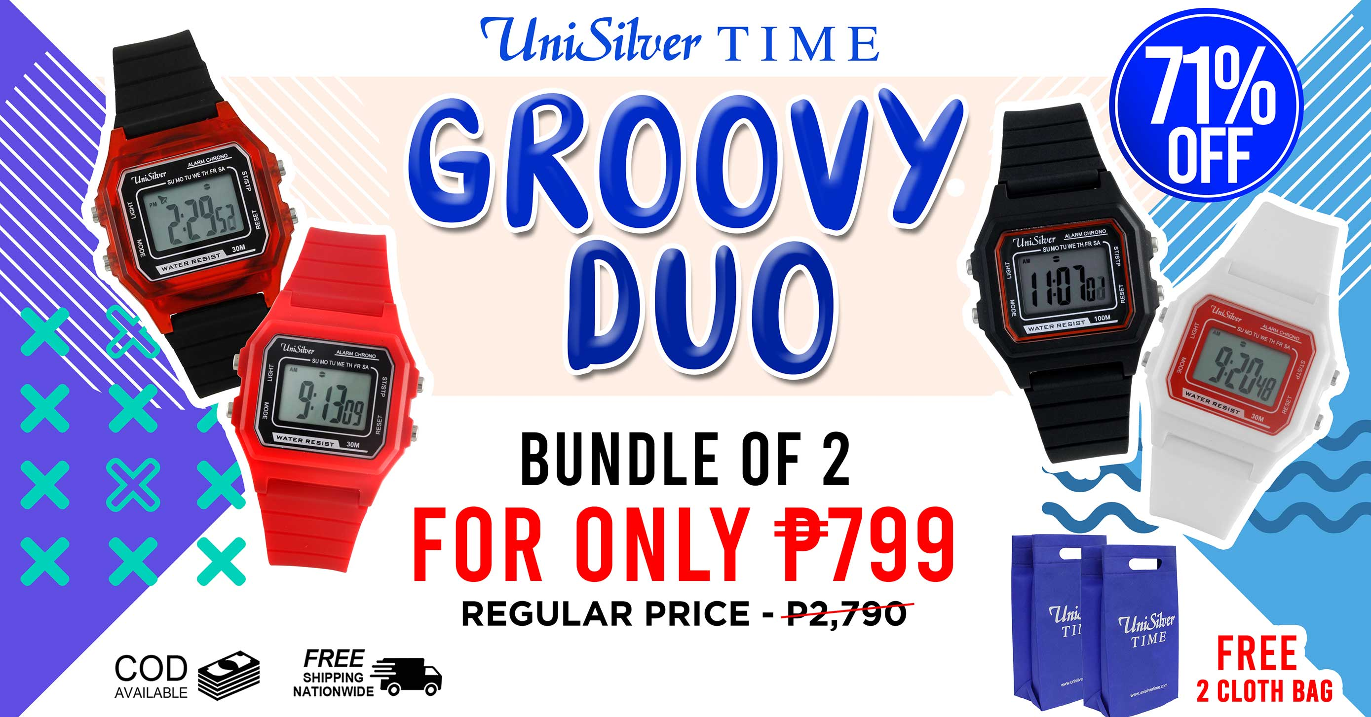 Groove to the beat of the festivities with the Groovy Duo from UniSilver TIME!  Pick any 2 watches for only PHP799.  That's 71% off the regular price of PHP2,790.  Choose from 8 colors.  Free shipping and cash on delivery option is available.  Also, get a free lucky pouch.  This promo is available only online http://www.unisilvertime.com/ Get your watches now >>> http://bit.ly/34ncmu5