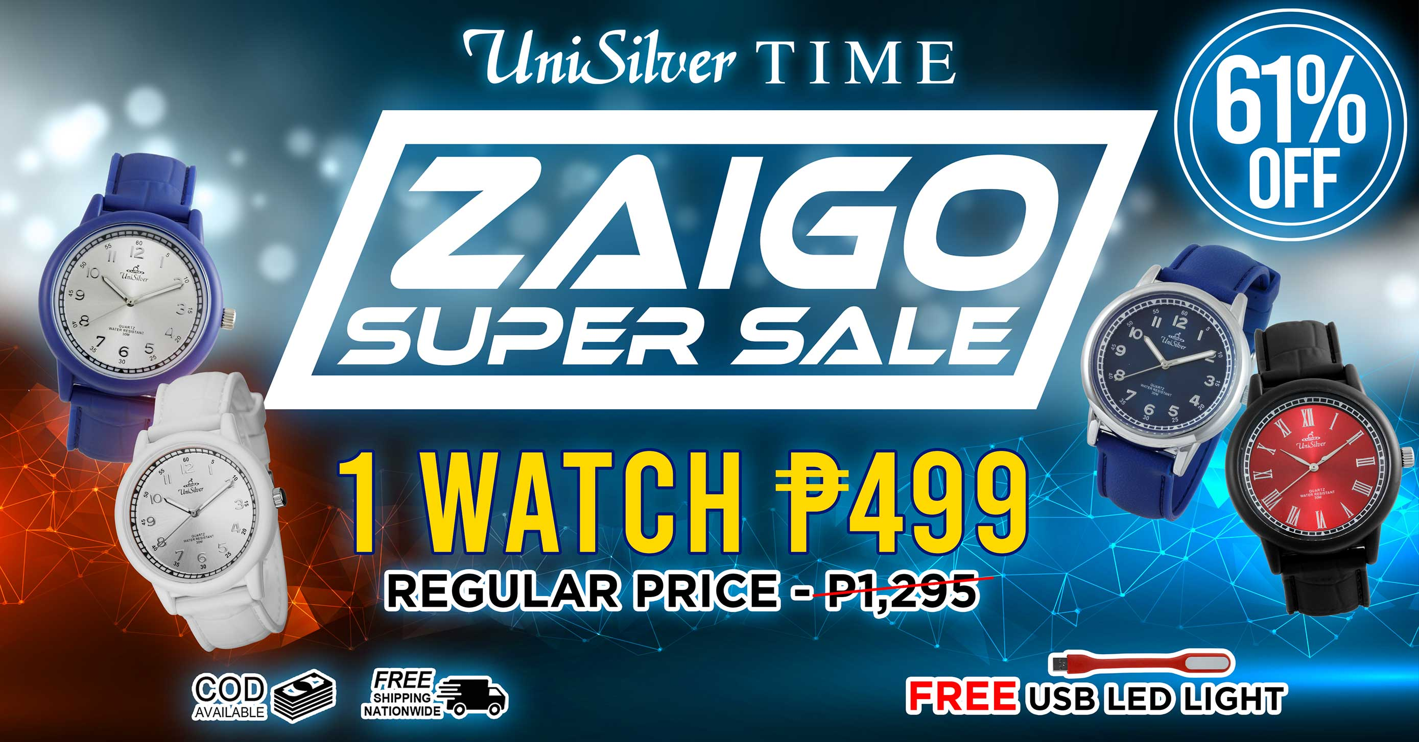Your fashion just got an upgrade with the Zaigo Super Sale promo from UniSilver TIME!  P499 only!  That's 61% off from the average regular price of P1295  There are 17 designs available.  Free delivery and COD option available.  This promo is only available online http://www.unisilvertime.com/  Hurry order now >>> http://bit.ly/34pelOC