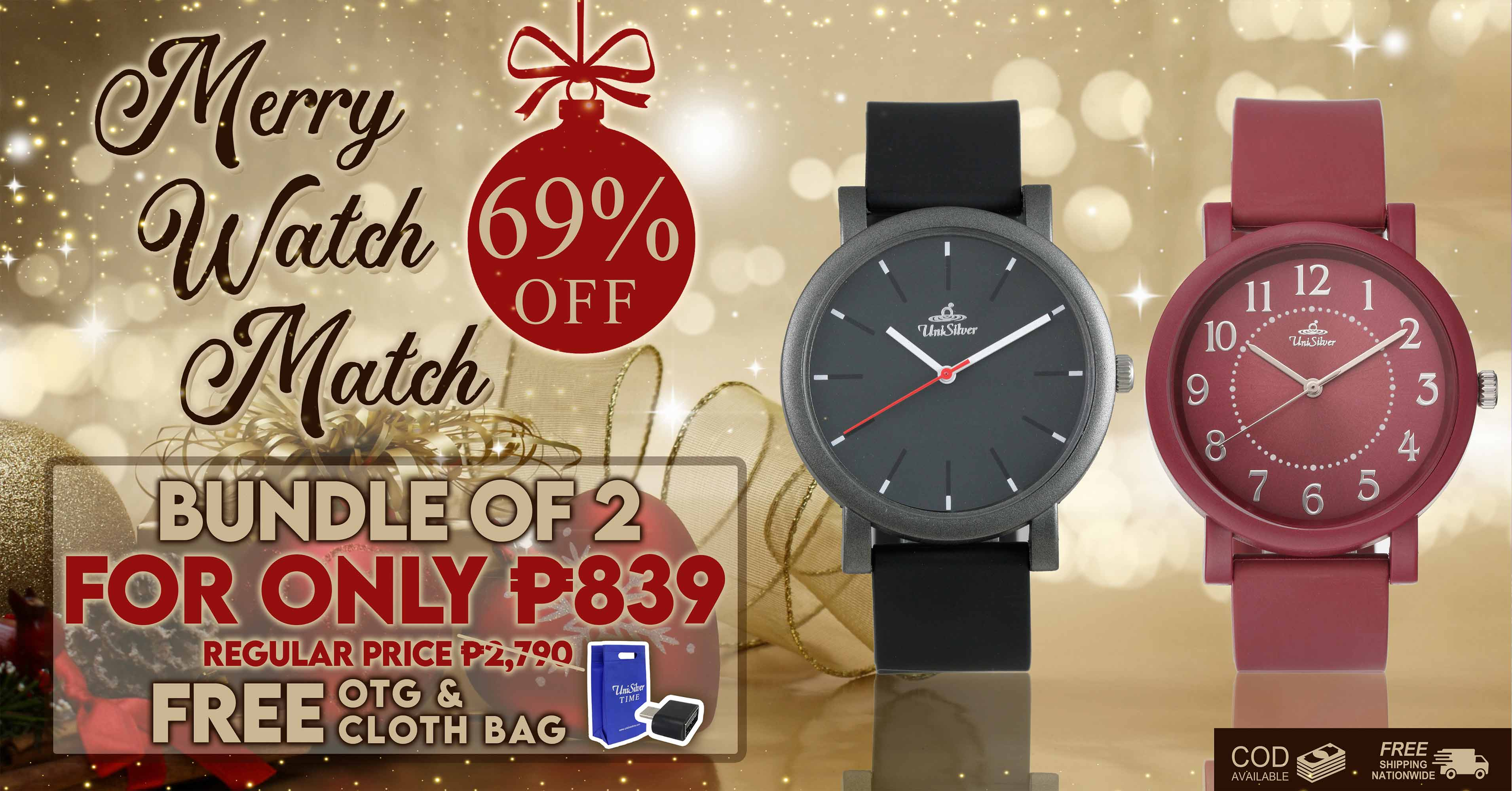 Christmas extended!  Here's a Merry Watch Match Sale from UniSilver TIME!  Bundle of two watches for PHP839 only!  That's 69% off from the regular price.  Plus you'll also get FREE OTG and cloth bag Free shipping nationwide and cash on delivery option is available. Shop now here >>> http://bit.ly/34YeFnx