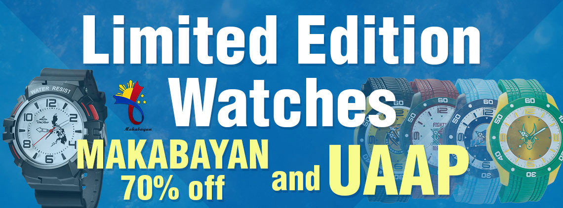 Our limited edition watches are exclusively sold by UniSilver TIME:  Makabayan watches that celebrate the Philippines and Filipinos everywhere in the world, and our UAAP (University Athletic Association of the Philippines) watches that proudly represent their corresponding schools in various athletic games.