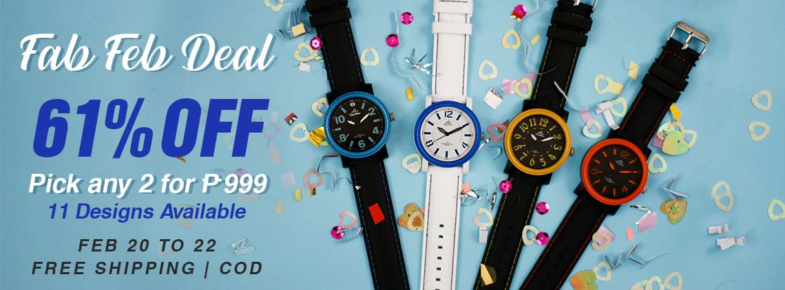 Make it a fabulous month with the Fab Feb Deal from UniSilver TIME!  Just pick any 2 watches for Php999 only!  That's 61% off the regular price of Php2,590.  Choose from 11 designs available.  Plus, get free 1 OTG and 1 love coin purse.  Free shipping and cash on delivery option is available.  This promo is available only online from February 20 to 22, 2019.  Check out the watches now!