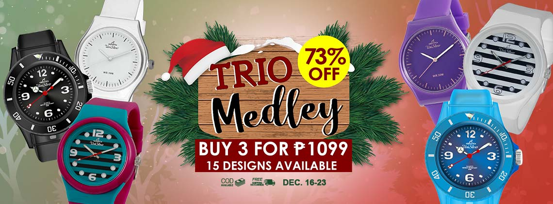 "Be trendy with these colorful ""TRIO MEDLEY"" watches from UniSilver TIME! Pick any 3 watches for PHP1099 only!  That's 73% off from the regular price P̶H̶P̶4̶0̶8̶5̶. There are 15 designs to choose from. Plus you'll also get a FREE Cloth Bag. This promo is available online only from December 16 to 23, 2019."