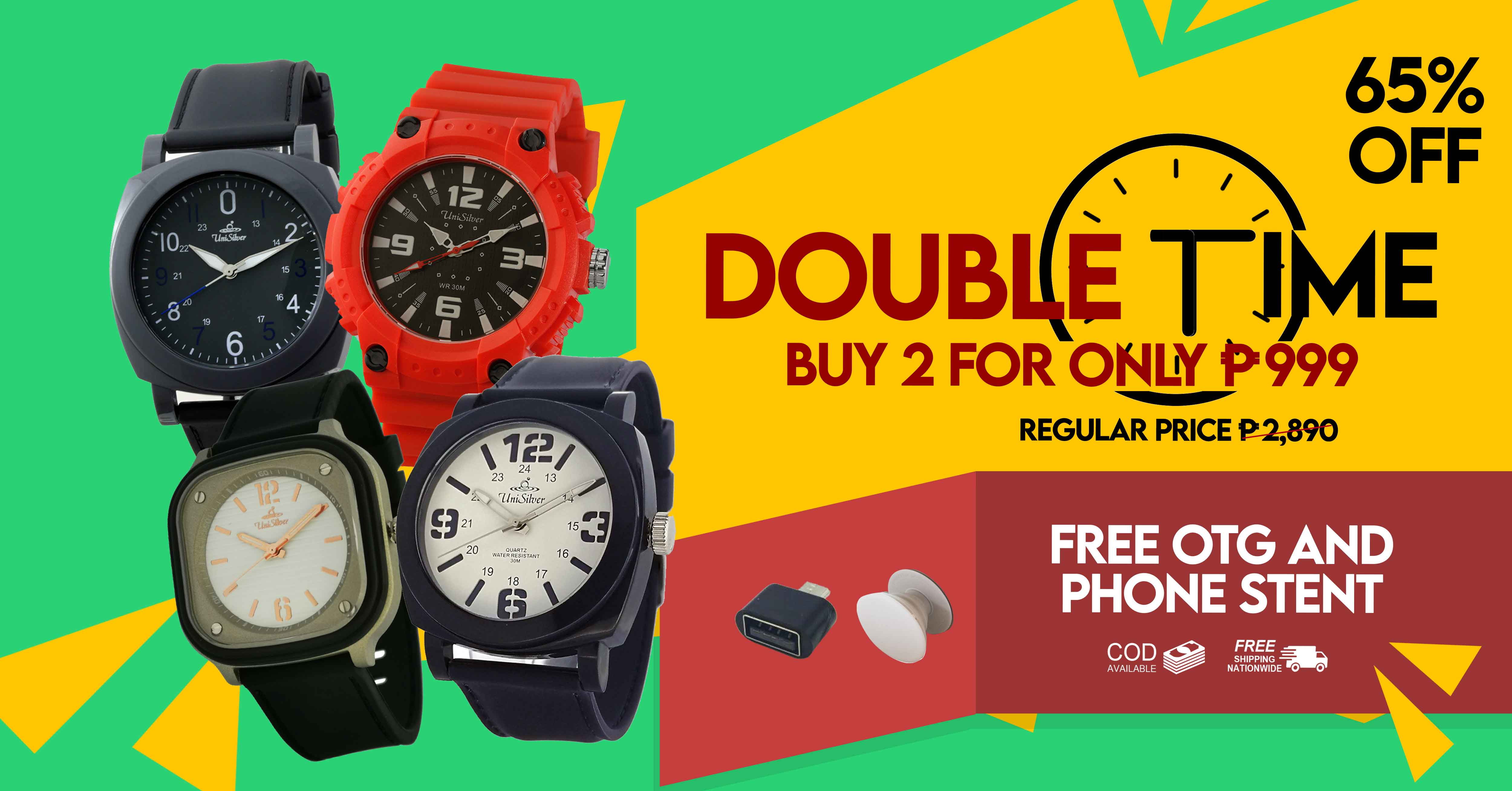 Turn heads twice with this Double Time Deal from UniSilver TIME!  Pick any 2 watches for PHP999 only!  That's 65% off from the regular price!  Plus you'll also get for FREE a mobile phone stent and OTG adapter.  Free shipping nationwide and cash on delivery option is available. This promo is only available online  http://www.unisilvertime.com/