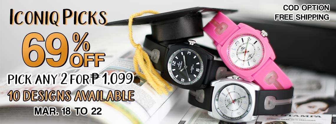 Make your mark in great casual fashion with the Iconiq Picks from UniSilver TIME!  Just pick any 2 watches for Php1,099 only!  That's 69% off from the regular price of Php2,390.  Choose from 10 designs.  Also, get a free love coin purse.  This promo is available only online from March 18 to 22, 2019. Free shipping and COD option is available.  Order now!