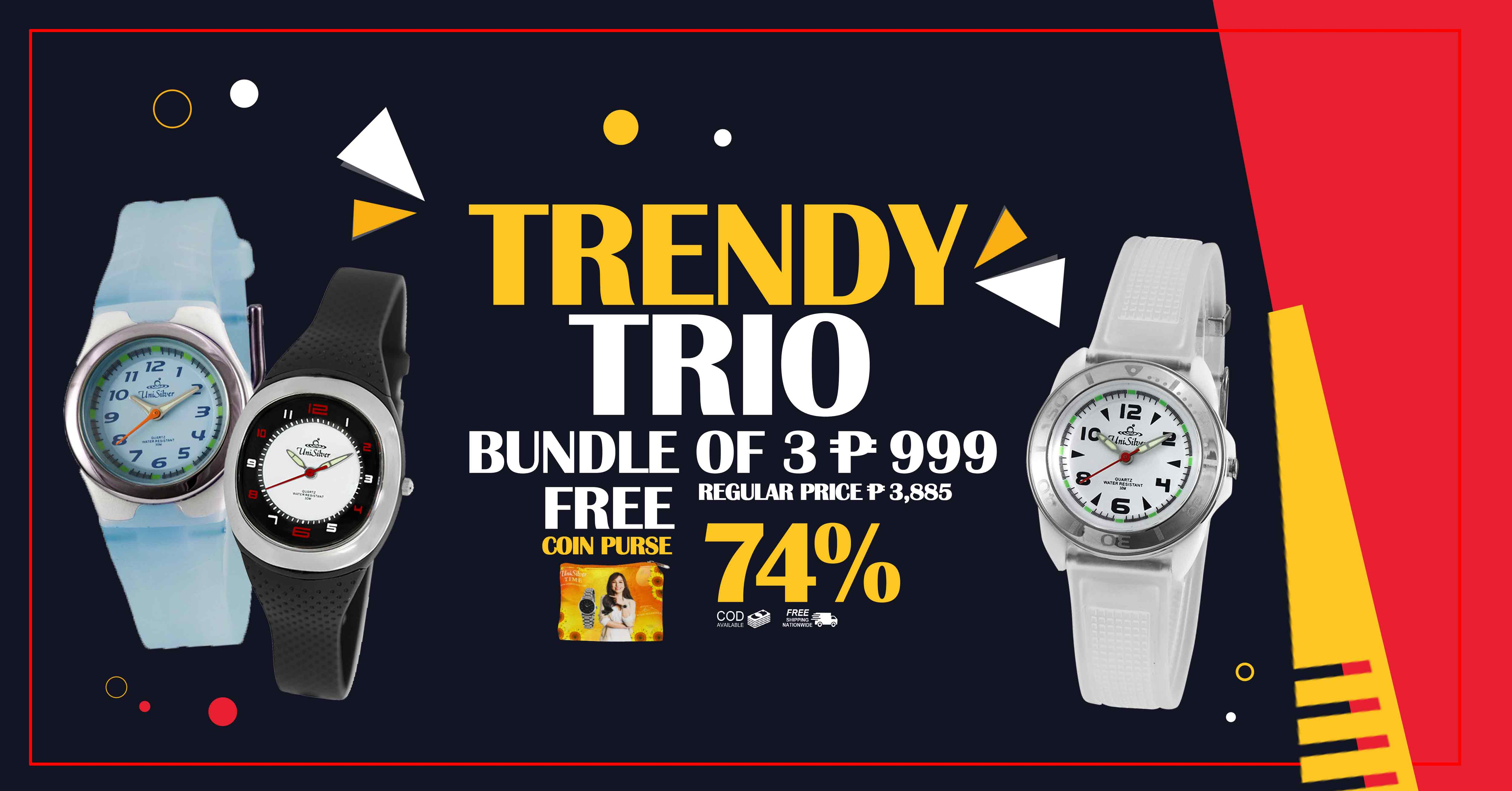 CUTIE TRENDY TRIO Watches from UniSilver TIME!  Bundle of 3 Rubber Watches for only P999 plus free coin purse. Enjoy free shipping nationwide. Cash on delivery option is available. This promo is only available online http://www.unisilvertime.com/  Hurry and order now >>> http://bit.ly/2kEeN86