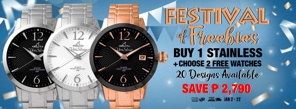 Make your 2020 shiny and bright with our Festival of Freebies promo from UniSilver TIME! Just pick any stainless steel watch and choose your 2 FREE rubber watches! Save P2,790! There are 10 stainless  + 10 rubber watches to choose from. Free shipping and cash on delivery option is available. This promo is only available online from January 2 to 22, 2020. Hurry order now!