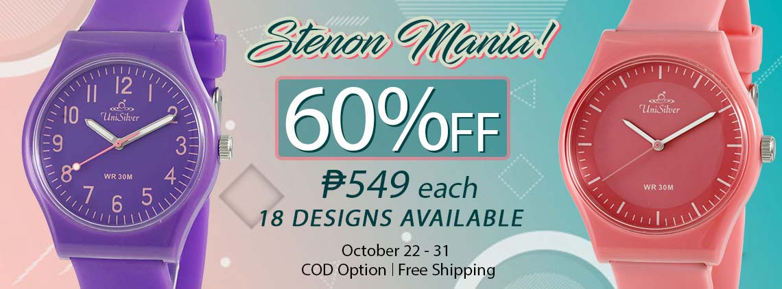 Upgrade your casual fashion with the Stenon Mania deal from UniSilver TIME!  Get a watch for PHP549 only!  That's 60% off from the regular price of PHP1,395! There are 18 colorful designs to choose from.  Promo is available only online from October 22-31,  2019. Free shipping nationwide and COD option is available. Order now!