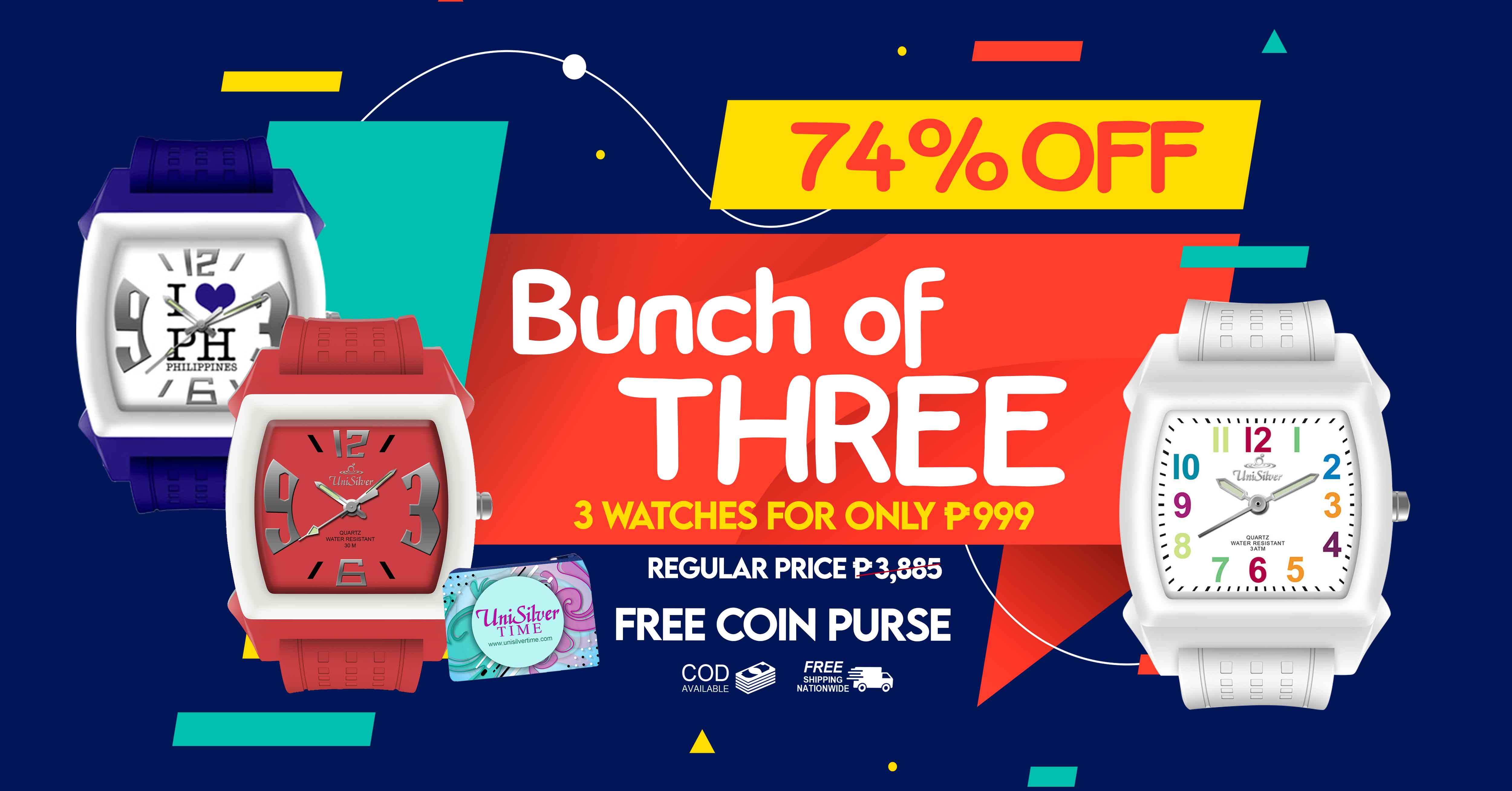 """Check out these bundles of watches: it's the Bunch of 3 Promo from UniSilver TIME!  Just pick any 3 watches for PHP 999 only! That's 74% off from the average regular price of PHP3,885!  Plus you'll also get FREE coin purse  Promo available only online http://www.unisilvertime.com/  Free shipping nationwide and COD option is available.