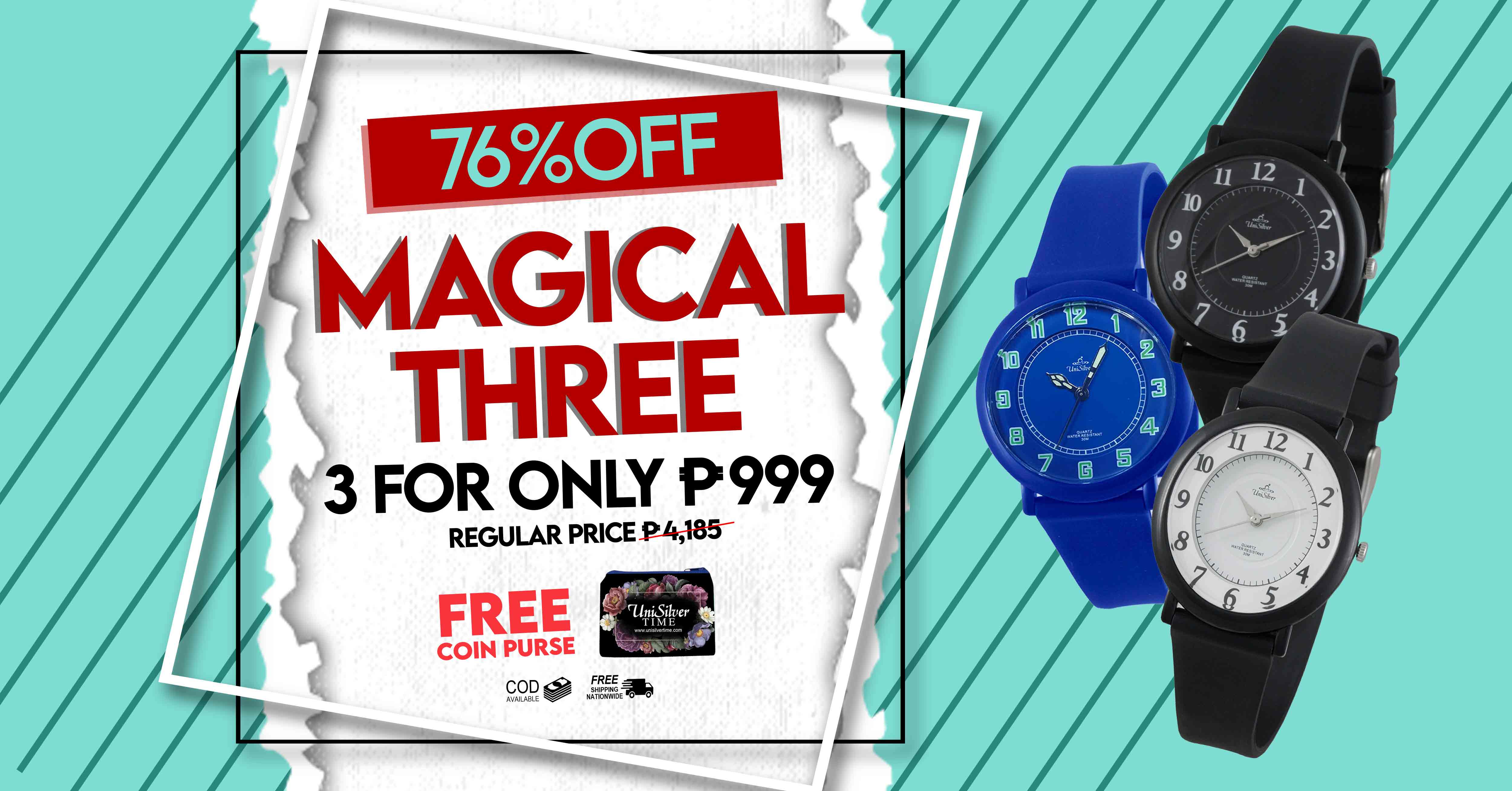 Watches with the Magical Three Deal from UniSilver TIME!  Just pick any 3 for P999.  That's 76% off the regular price. There are 8 colors to choose from.  Free shipping nationwide and cash on delivery option is available.  Also, get a free coin purse.  This promo is only available online http://bit.ly/306nBTn  Hurry and order now!