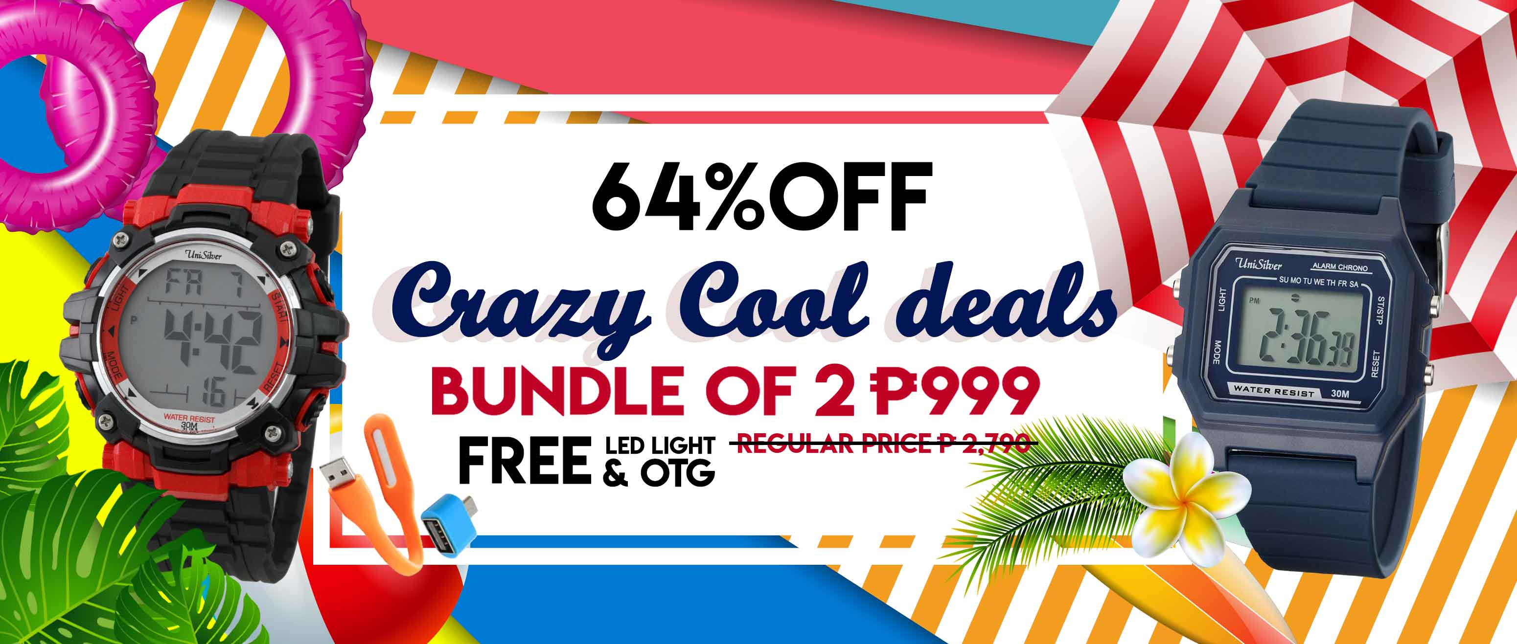 It's insane!  Check out the Crazy Cool Deal from  UniSilver TIME!  Just pick any 2 watches for ₱999 only.  That's 64% off from the regular price of ₱̶̶̶̶̶̶̶̶̶̶̶̶̶̶̶2790Choose from 17 designs.  Free delivery and COD option is available.  This promo is only available online at www.unisilvertime.com f  Hurry order now >>> http://bit.ly/306nBTn