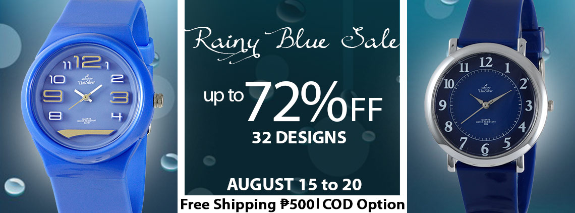 UniSilver TIME Rainy Blue Sale up to 72% off! Free shipping nationwide and cash on delivery option is available. This promo is only available online from August 15 to 20, 2019.