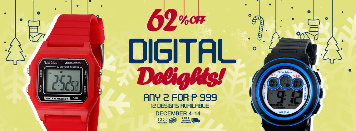 Give affordable and high-quality gifts easily with your phone through the Digital Delights promo from Unisilver TIME!  Just pick any 2 watches for P999 only! That's 62% off the average regular price of P̶̶̶̶̶̶̶2̶̶̶̶̶̶̶,̶̶̶̶̶̶̶6̶9̶0̶.  There 12 designs to choose from!  Free 1 USB LED lamp.  Free shipping and cash on delivery option is available.  This promo is only available online from December 4 to 14, 2019.  Hurry order now!