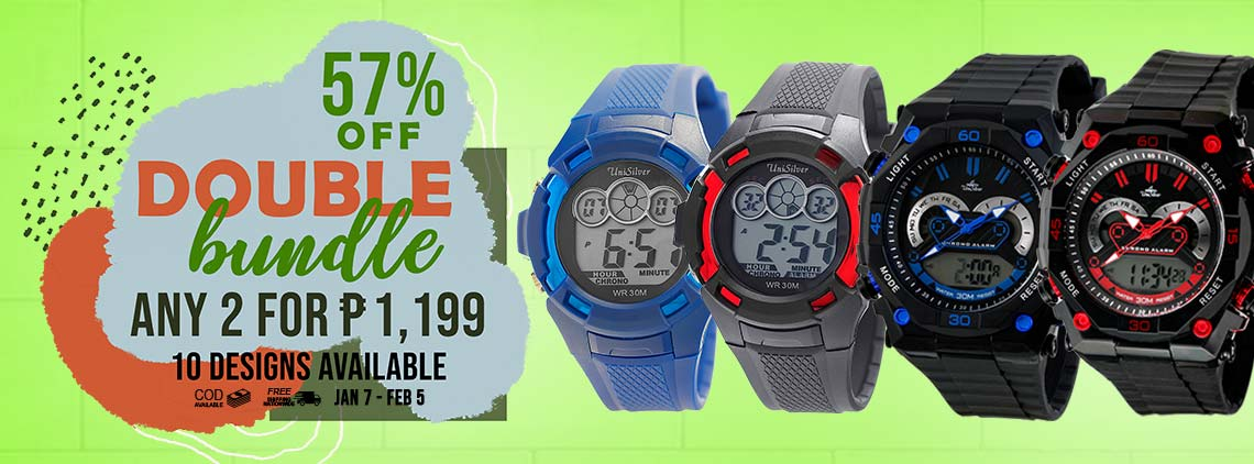 It's time for the Double Bundle promo from UniSilver TIME!  Just pick any 2 watches for P1,199 only!  There are 10 designs available.  Free delivery and COD option available.  This promo is only available online from January 7 to February 5, 2019.  Hurry order now!