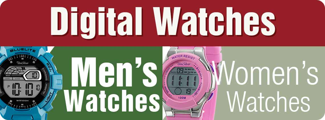 For sports or just casual fashion, digital watches are the accessories to complement your look.  We have a wide variety of trendy designs for both men and women to choose from.  Additionally, you'll enjoy our discount of up to 50%, so better get your digital watch now!