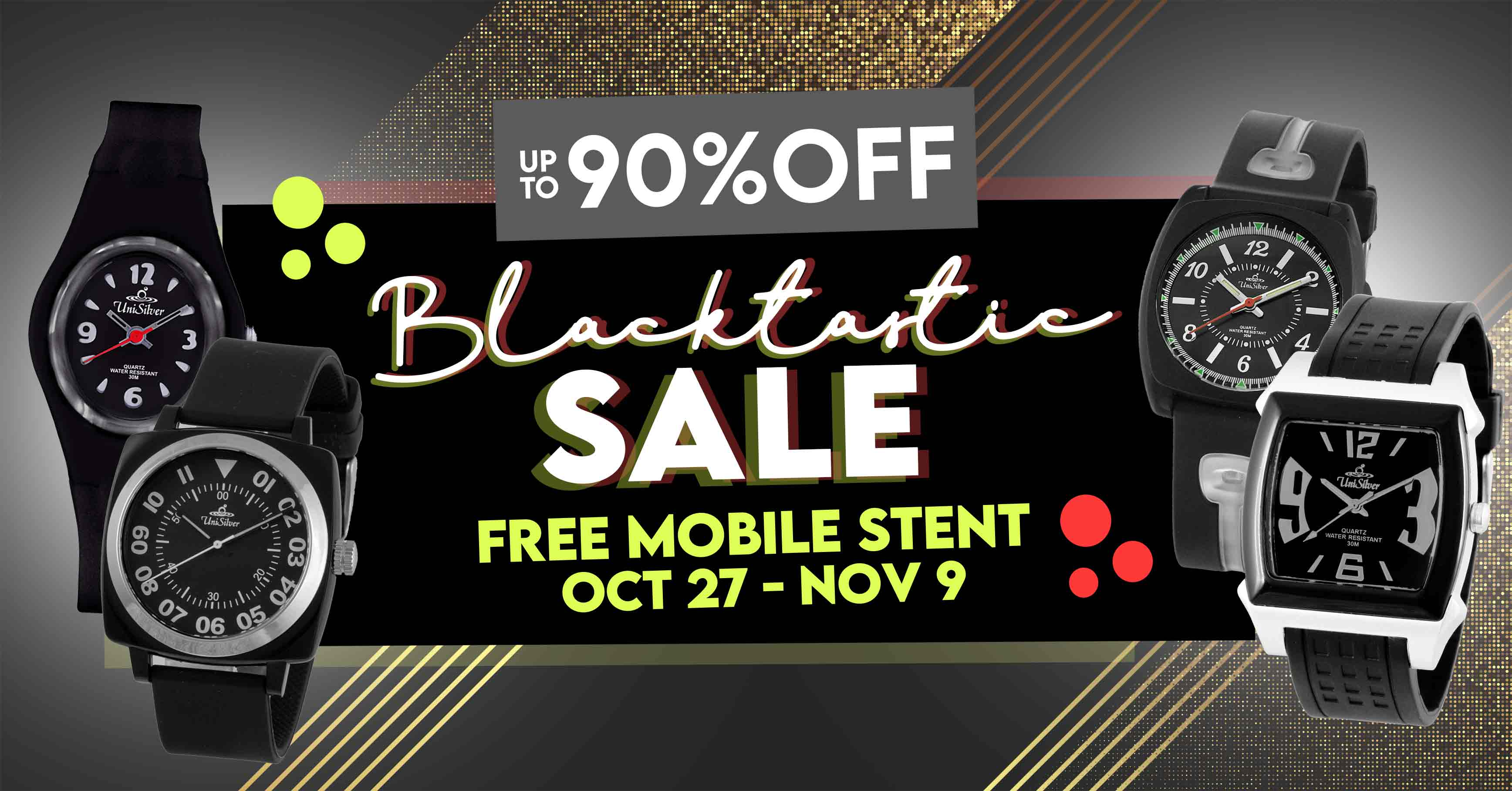 It's time to wear the boldest color with the Blacktastic Sale from UniSilver TIME!  Get up to 90% off on black watches from October 28 to November 9, 2020.  Free shipping and cash on delivery option is available.  This promo is only available online.  Hurry and order now >>> http://bit.ly/2YCgEZj