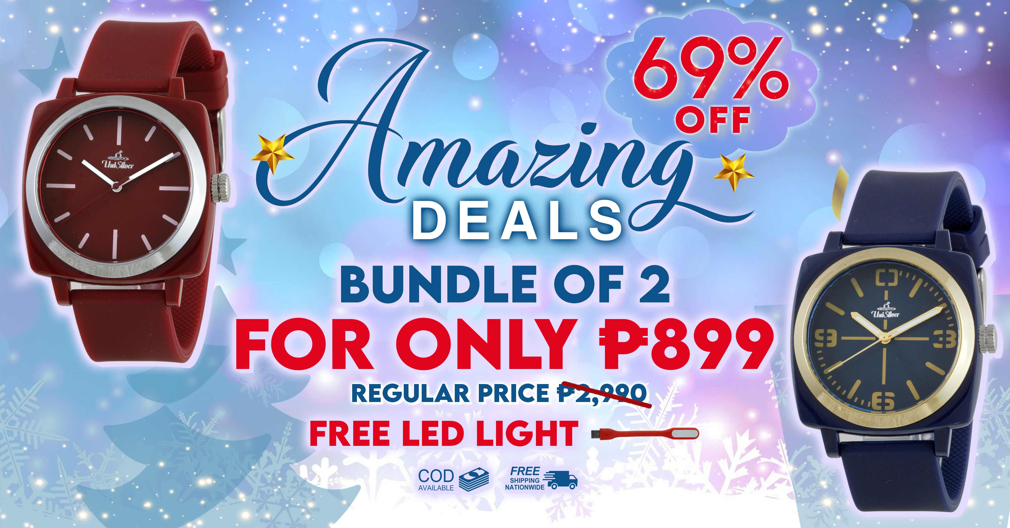 It's time for the Amazing Deals from UniSilver TIME!  Just pick any 2 for P899.  That's 69% off the regular price. Free shipping nationwide and cash on delivery option is available.  Also, get a free LED USB light.  This promo is only available online http://www.unisilvertime.com/ Hurry and order now here >>> http://bit.ly/31psjxg