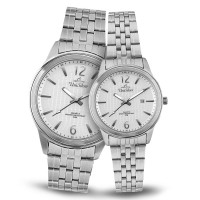 MEZZO ANALOG STAINLESS STEEL SILVER PAIR WATCHES