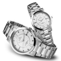 EPIPHANY PAIR SILVER /OFF WHITE ANALOG STAINLESS STEEL PAIR WATCH