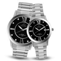 EPIPHANY SILVER/BLACK ANALOG STAINLESS STEEL PAIR WATCH