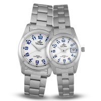 DIFRAXIO SILVER OFF-WHITE BLUE ANALOG STAINLESS STEEL PAIR WATCH