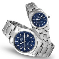 ASTRONICON SILVER/BLUE ANALOG STAINLESS STEEL PAIR WATCH