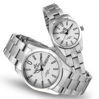TEISU ELEMENTS SILVER / OFF WHITE ANALOG STAINLESS STEEL PAIR WATCH