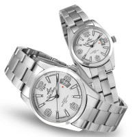 VANTAGE POINT SILVER / OFF WHITE ANALOG STAINLESS STEEL PAIR WATCH