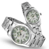 TEISU ELEMENTS SILVER / OFF WHITE ANALOG STAINLESS STEEL PAIR WATCHES