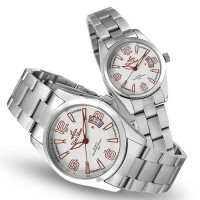 VANTAGE POINT SILVER / OFF WHITE / RED ANALOG STAINLESS STEEL PAIR WATCH