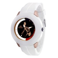 MAKABAYAN TALINGHAGA UNISEX WHITE/ ROSE GOLD/ BLACK ANALOG RUBBER WATCH