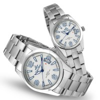VANTAGE POINT SILVER OFF WHITE BLUE ANALOG STAINLESS STEEL PAIR WATCH