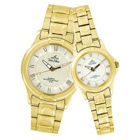 AMARANTH GOLD ANALOG STAINLESS STEEL PAIR WATCH