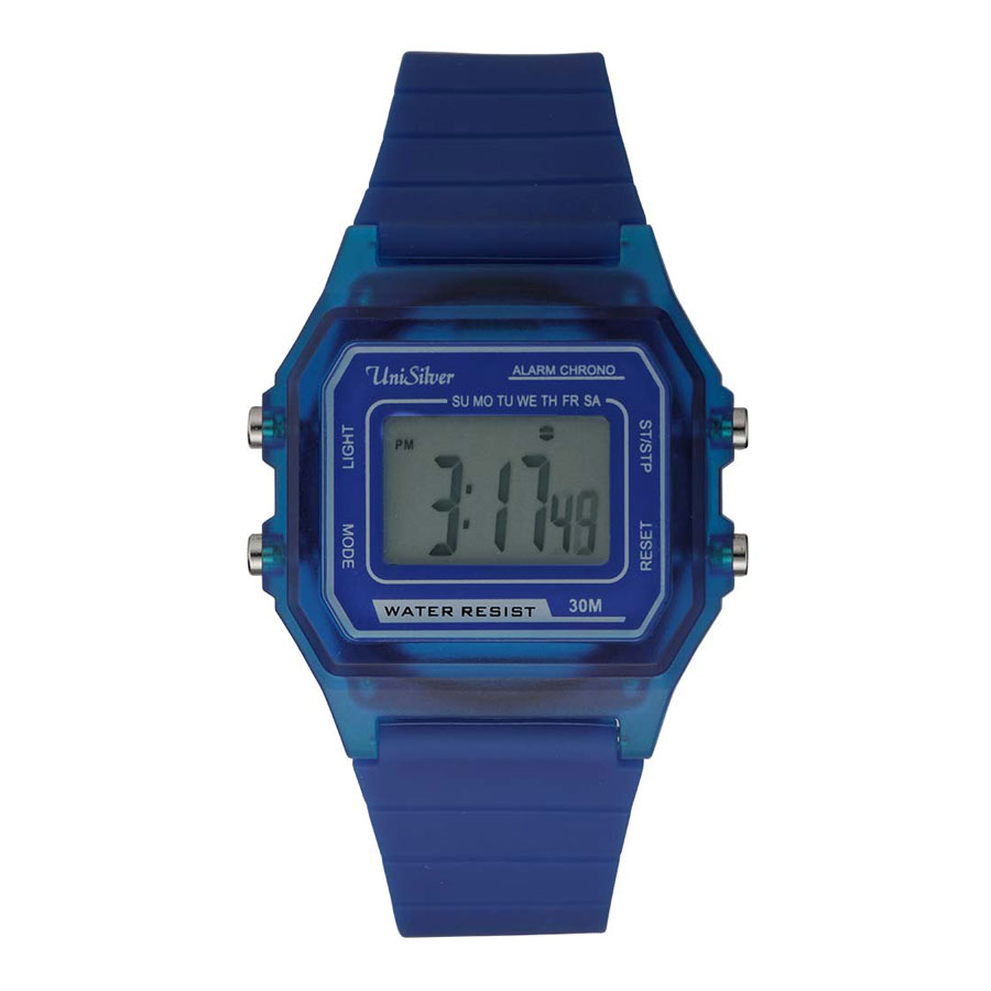 UniSilver TIME Mens White Digital Rubber Watch