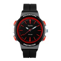 Unisilver TIME Unisex Black/Red Analog Watch