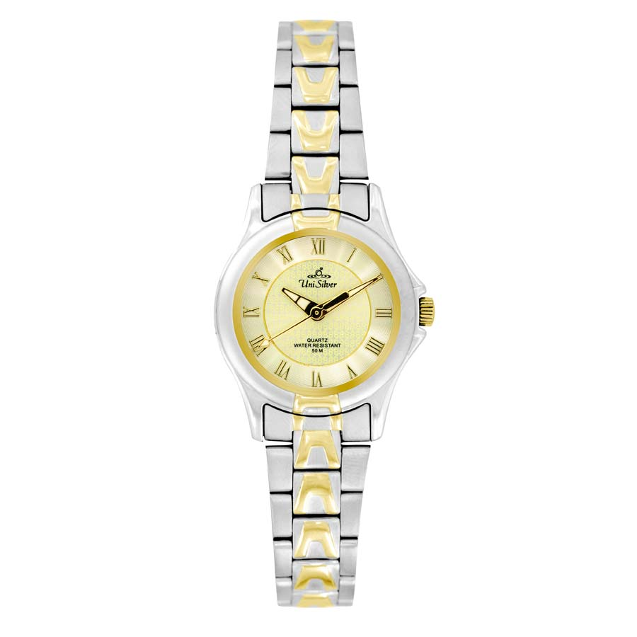 UniSilver TIME Ladies' Amaranth Pair Analog Stainless Steel Two-Tone / Light Gold KW045-2306