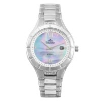 ECOTECH ORIENCE Men's Solar-Powered Analog Mother-of-Pearl/Silver Stainless Steel KW3521-1101