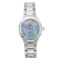 ECOTECH MAGESTRY Women's Solar-Powered Analog Mother-of-Pearl/Silver Stainless Steel KW3540-2101