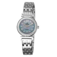 ECOTECH SHANTELLE Women's Solar-Powered Analog Blue Mother-of-Pearl/Silver Stainless Steel KW3525-2101