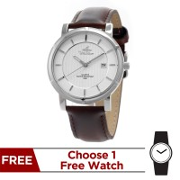 ZENTURIA STAINLESS STEEL LEATHER ANALOG WATCH