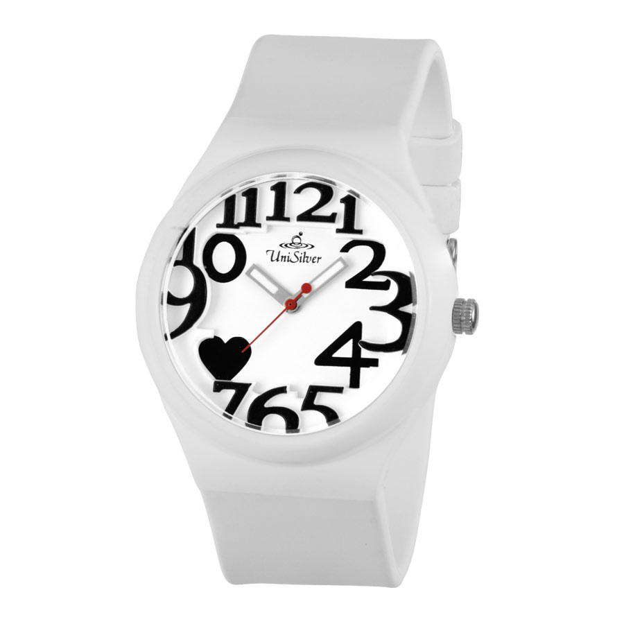 8'O HEARTS FLXY ROUND ANALOG RUBBER WATCH